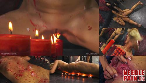 0181 QS Inflammable m - Inflammable - Queensnake, Tracy, lezdom, burning, candles, hot wax