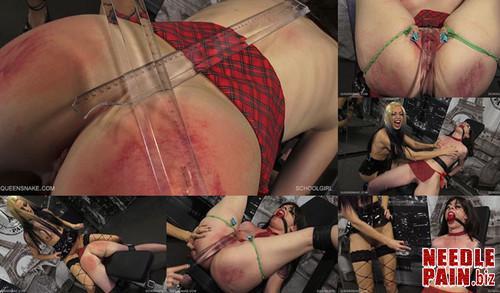 0256 QS Schoolgirl m - Schoolgirl - Queensnake, Jade, spanking, ruler, clamps, lezdom