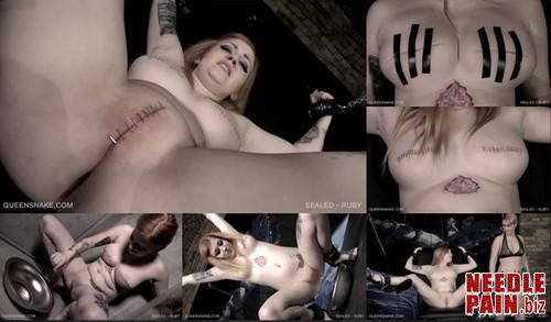0403 QS Sealed   Ruby m - Sealed - Ruby - Tracy, lezdom, staples, piercing, humiliation