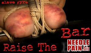 BrutalMaster – Slave Fyre – Raise The Bar, breast bondage, torture